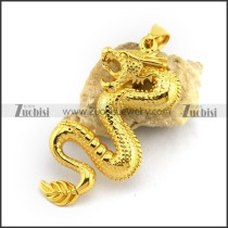 Shiny Gold Stainless Steel Dragon Pendant p002810