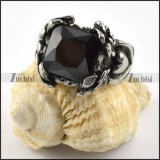 Black Square Stone Ring in Stainless Steel - r000277