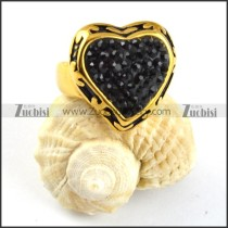 Solid Black Rhinestone Stainless Steel Heart ring - r000205