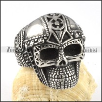 Army Skull Ring in Stainless Steel - r000057