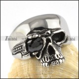 One-eyed facted rhinestone Skull Ring in Stainless Steel - r000077