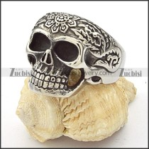 Stainless Steel Flower Skull Ring -r000355