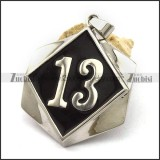 13 Biker Pendant in Red Epoxy Stainless Steel p002544