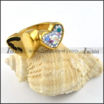 Stainless Steel Heart Linked Heart Ring - r000251