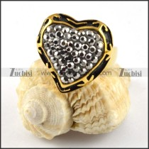 Smoky Stone Stainless Steel Ring in Heart Shaped - r000206