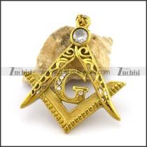 45MM Gold Stainless Steel Freemasons Pendant p002821