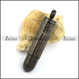 Gun Metal Stainless Steel Bullet with Bible Text p002681