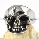 Steel One-eyed Skull Ring - r000076