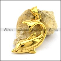Yellow Gold Dolphin Pendant p002808