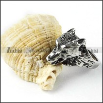 Old Silver Stainless Steel Wolf Ring - r000257