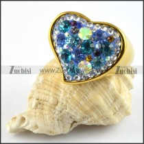 Heart Ring in Stainless Steel with Rhinestones - r000201