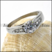 Clear Zircon Wedding Ring in Stainless Steel - r000028