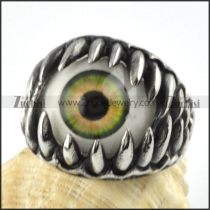 Green Eye Ring in Stainless Steel - r000081