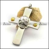 Simple Cross Pendant with Skull p002540
