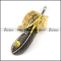 Retro Gold and Silver Steel Feather Pendant p002883