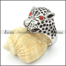 Stainless Steel Leopard Ring w Red Eye-r000359