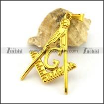 Yellow Gold Casting Masonic Pendant p002816