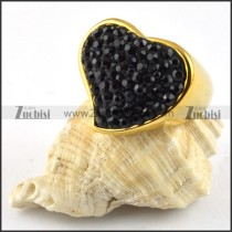 Heart Stainless Steel Ring with Black Rhinestones - r000202