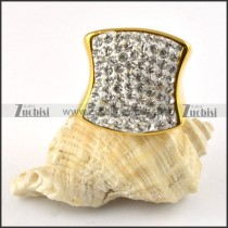 Clear Rhinestone Stainless Steel Ring in yellow gold plating - r000199