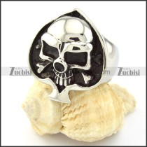 Black Heart Shaped Stainless Steel Skull Rings -r000695