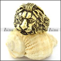 Gold Tone Fat Lion Ring in Stainless Steel -r000724