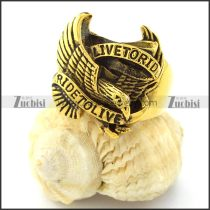 Yellow Gold Pating RIDE TO LIVE Eagle Ring for Motorcycle Bikers -r000726