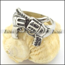 two-gun black rhinestone casting ring r001216