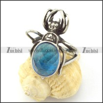 beetle ring with light blue facted stone r001151