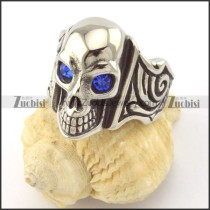 clear blue facted rhinestone eye skull ring r001165