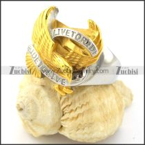 Hot Selling Yellow Gold-plating Live to Ride Eagle Ring -r000890