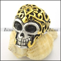 black facted rhinestone eyes skull ring with gold cap r001167