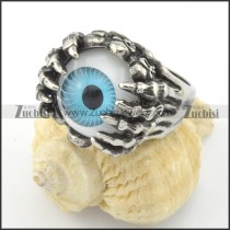 unique ghost claw ring with blue evil eye stone r001197