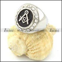 316L Stainless Steel Masonic Rings with Several Clear Rhinestones -r000892