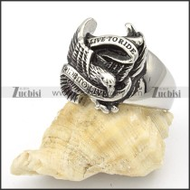 Stainless Steel Eagle Rings with slogan of LIVE TO RIDE -r000373