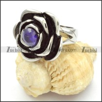 Stainless Steel Rose Rings with Blue Zircon -r000464