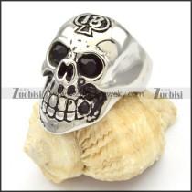 Stainless Steel Skull Rings wth black eyes -r000472