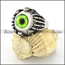 remarkable 316L Steel Evil Green Eyeball Ring with punk style for Motorcycle bikers - r000532