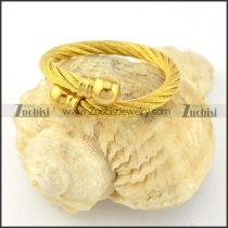 Yellow Gold Stainless Steel Wire Ring -r000583