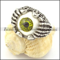 Olive-green Dainty Evil Eyeball Skull Ring r001300