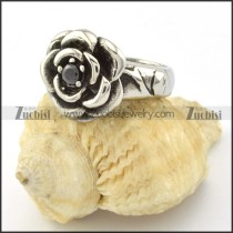 black zircon rose ring for ladies r001130