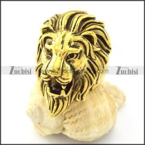 Gold Pating Wild Lion Ring in Stainless Steel -r000723