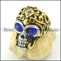 clear blue facted rhinestone eyes skull ring with gold hairr001168