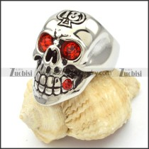 stainless steel skull rings with red eyes -r000473