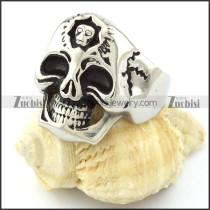 Skull in Skull Ring in Stainless Steel for Motorcycle Bikers -r000722