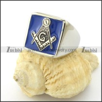 stainless steel masonic rings crafted of blue epoxy -r001087
