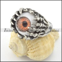 unique ghost claw ring with orange evil eye ball r001198