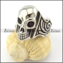 jet black facted rhinestone eyes skull ring r001164
