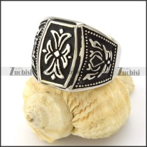 stainless steel womens rings with flower theme -r001086