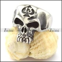 13 Mens Skull Ring in Stainless Steel -r000739