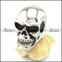 Silver Tone Large Bareheaded Skull Ring in Stainless Steel for Mens -r000720